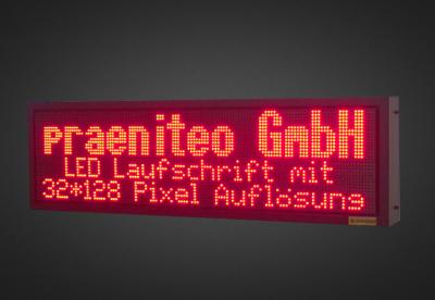 Mehrzeilige LED Laufschrift für den Außenbereich PLC32-128-6R